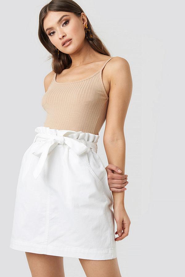 NA-KD Paper Bag Waist Denim Mini Skirt vit