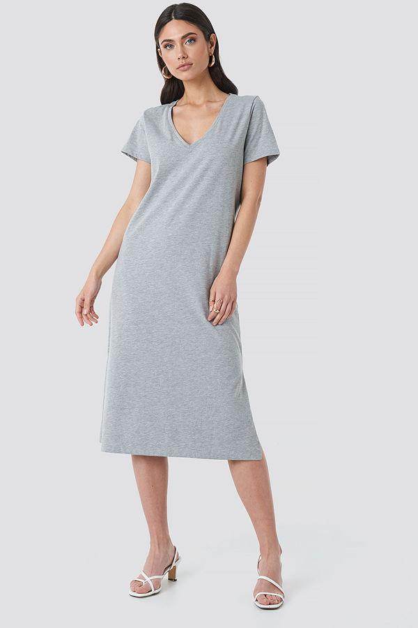 NA-KD Basic V-neck Jersey Dress grå