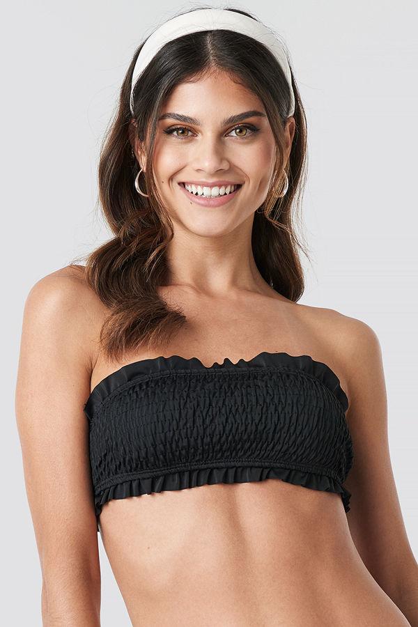 Hot Anatomy Flounced Wrinkled Bandeau Bikini svart