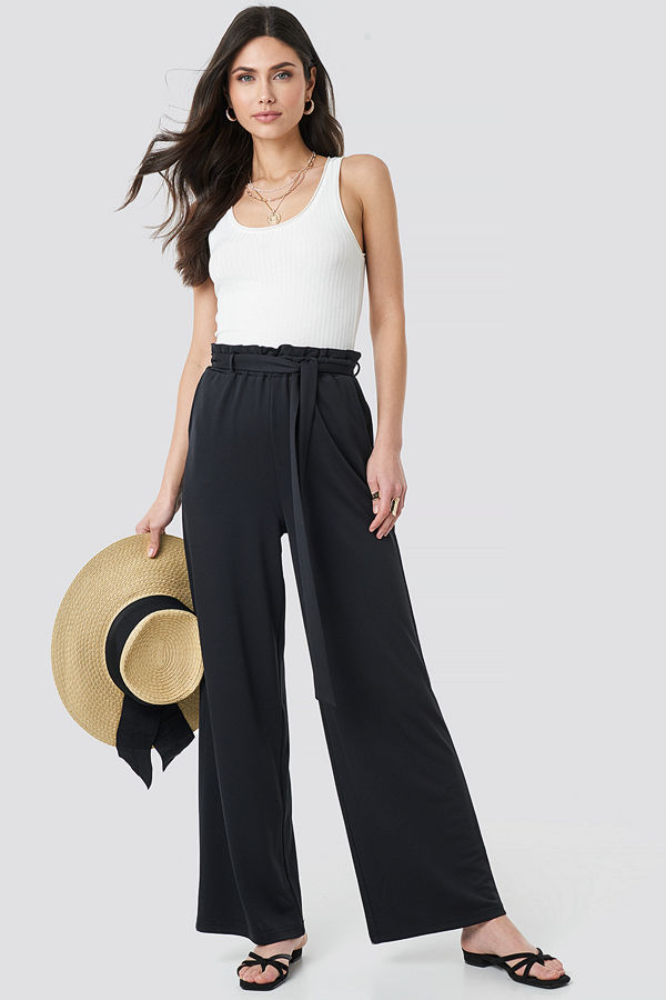NA-KD Boho svarta byxor Tie Detail Paperbag Wide Pants svart