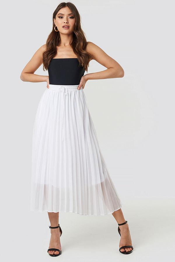 NA-KD Trend Drawcord Pleated Midi Skirt vit