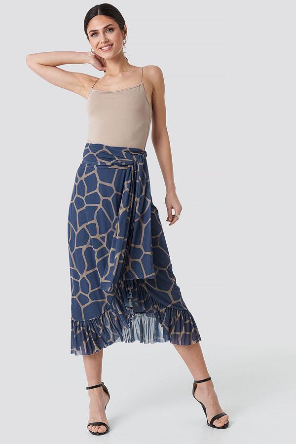NA-KD Trend Mesh Tied Waist Ankle Skirt blå