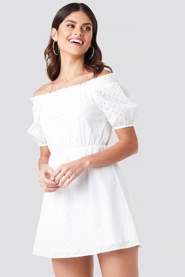 Donnaromina x NA-KD Off Shoulder Puffy Sleeve Dress vit