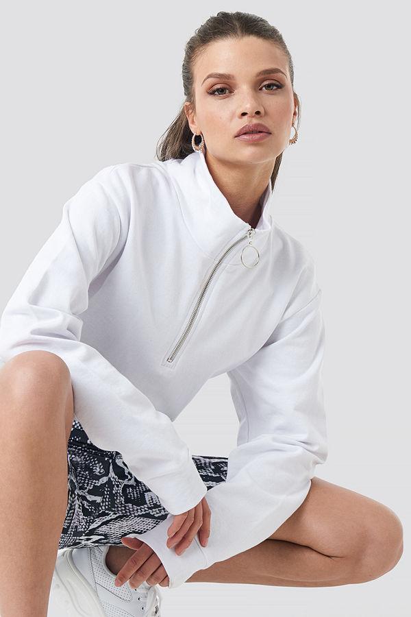 NA-KD Half Zip Pullover vit