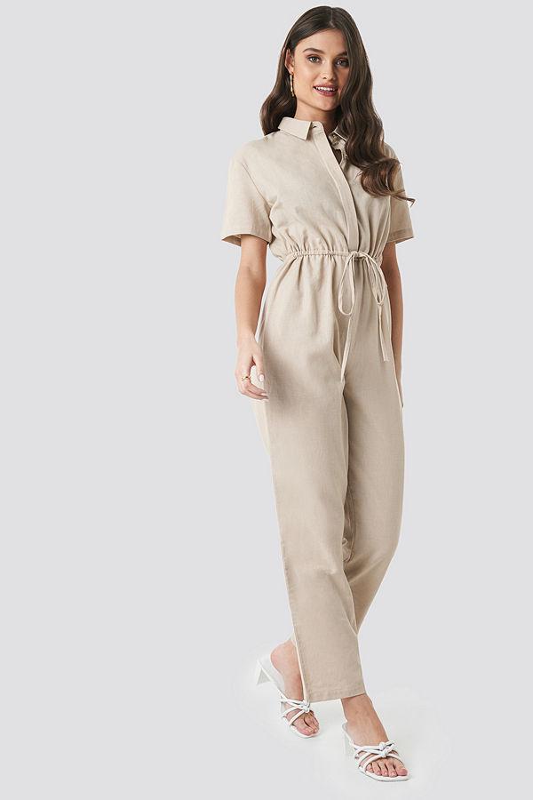 NA-KD Trend Linen Look Drawstring Shirt Jumpsuit beige