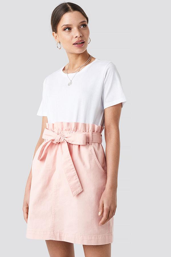 NA-KD Paper Bag Waist Denim Mini Skirt rosa