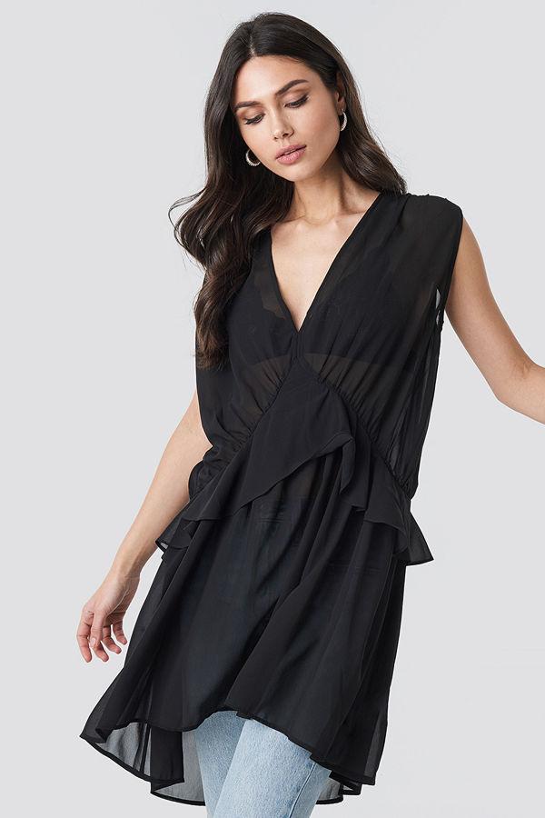 NA-KD Short Chiffon Dress svart