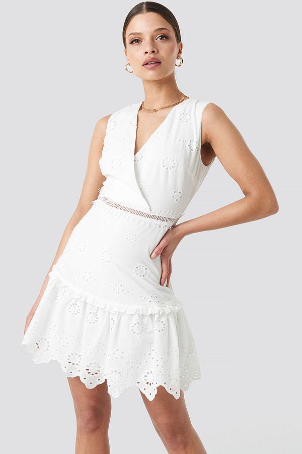 Trendyol Brocade Mini Dress vit