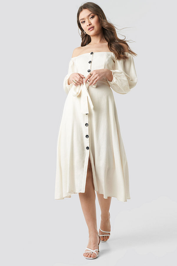 44c4b1b9ab61 Trendyol Tulum Off Shoulder Midi Dress vit - Klänningar online ...