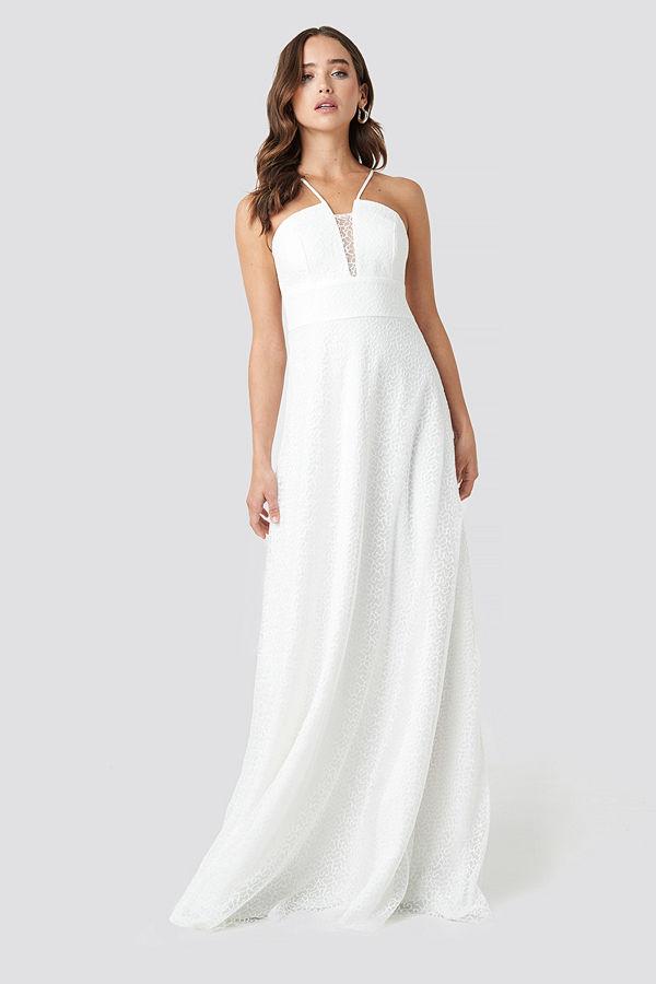 Trendyol Lace Detailed Evening Dress vit