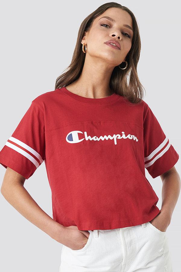 Champion Crewneck SS Croptop röd