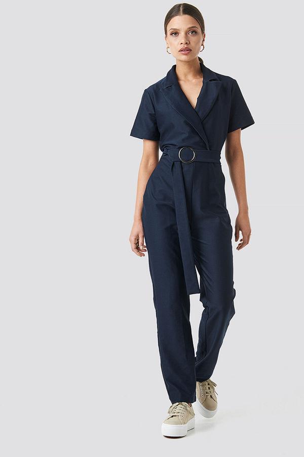 Trendyol Belted Jumpsuit blå
