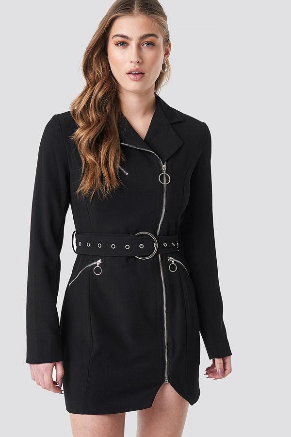 Donnaromina x NA-KD Belted Zip Detail Blazer Dress svart
