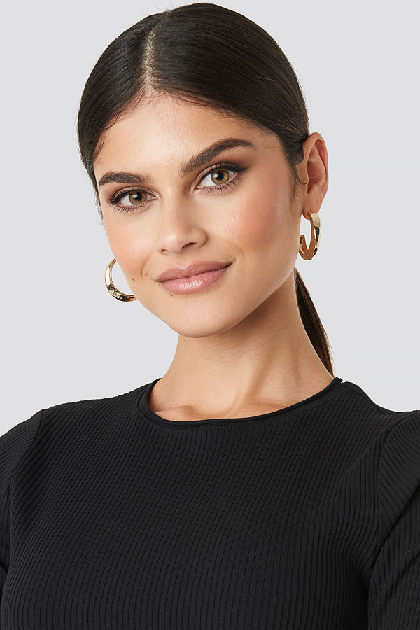 NA-KD Accessories smycke Hammered Uneven Chunky Hoops guld