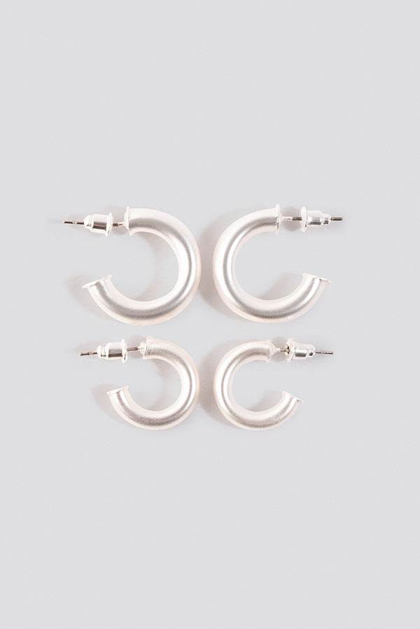 NA-KD Accessories smycke Flat End Mini Hoops (Double Pack) silver