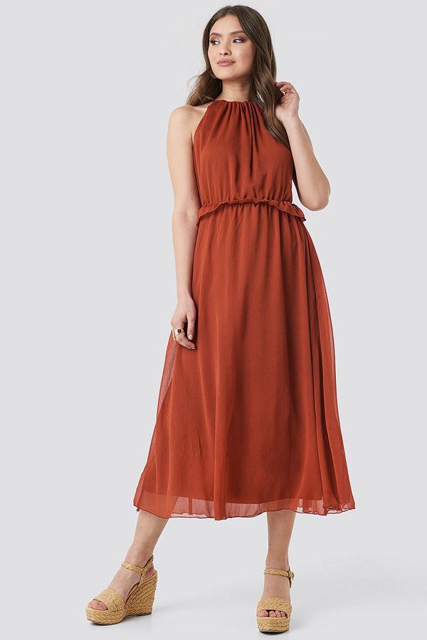 Trendyol Cinnamon Waist Detail Long Dress röd