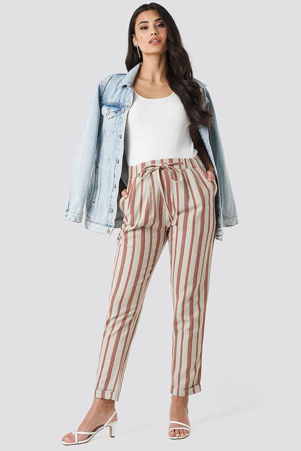 Trendyol randiga byxor Milla Striped Pants röd beige