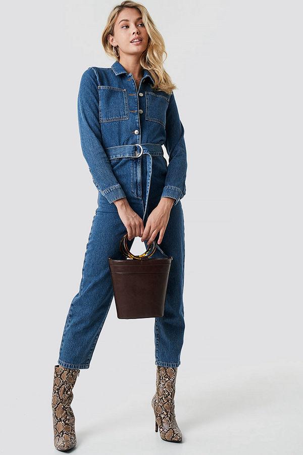 NA-KD Trend Jumpsuit I Denim Med Midjebälte blå