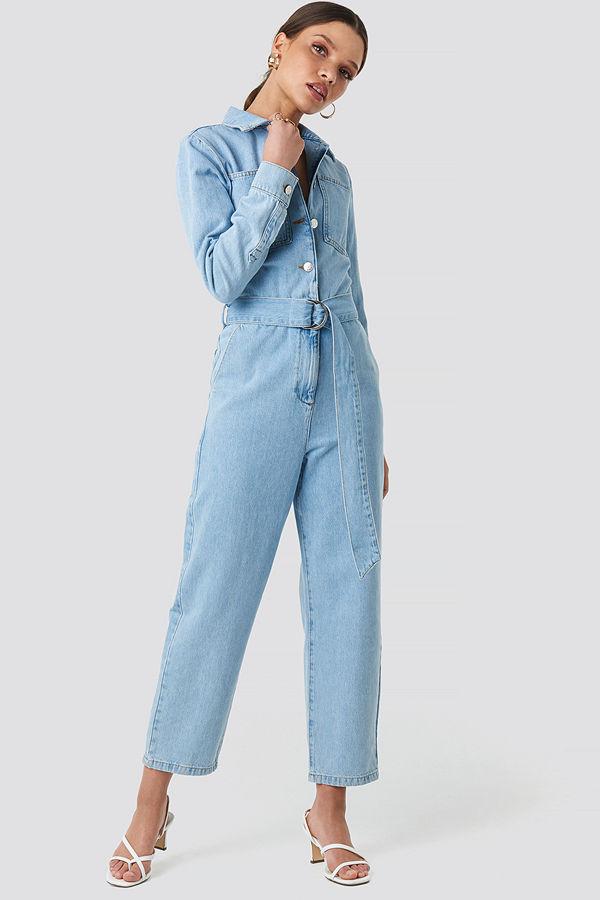 NA-KD Trend Waist Belt Denim Jumpsuit blå