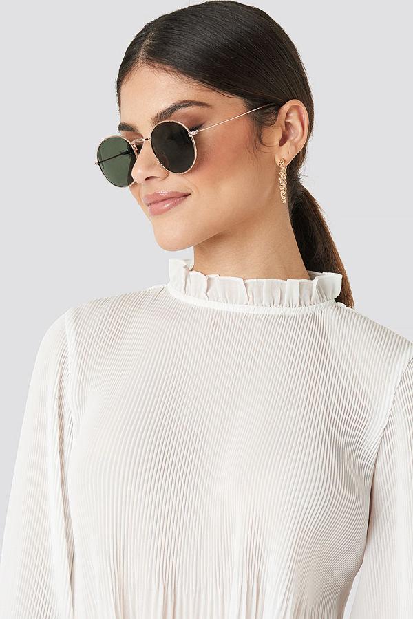 NA-KD Accessories Round Metal Frame Sunglasses grön