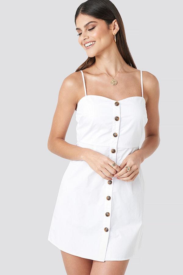 Milena Karl x NA-KD Strap Mini Cotton Dress vit