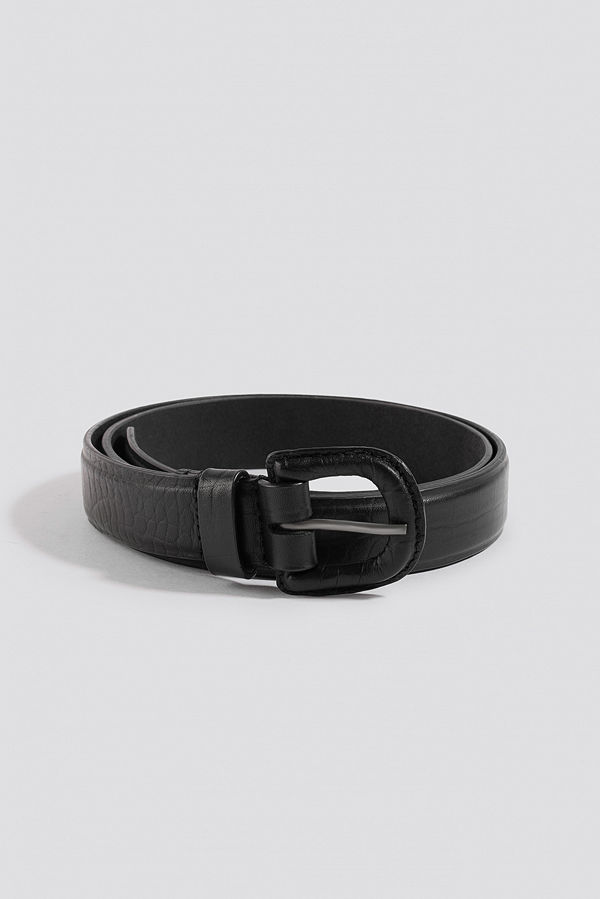 NA-KD Accessories Embossed Leather Belt svart
