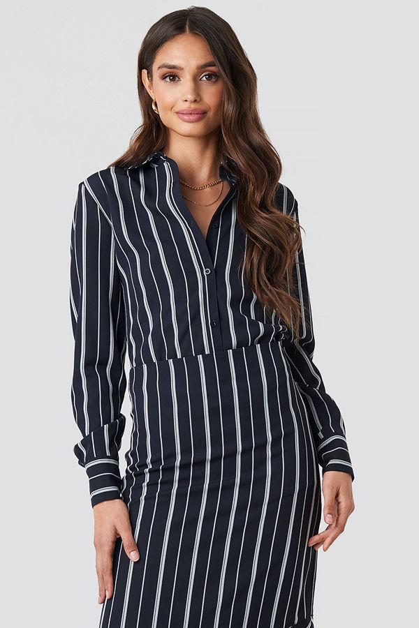 NA-KD Classic Oversized Straight Striped Shirt blå