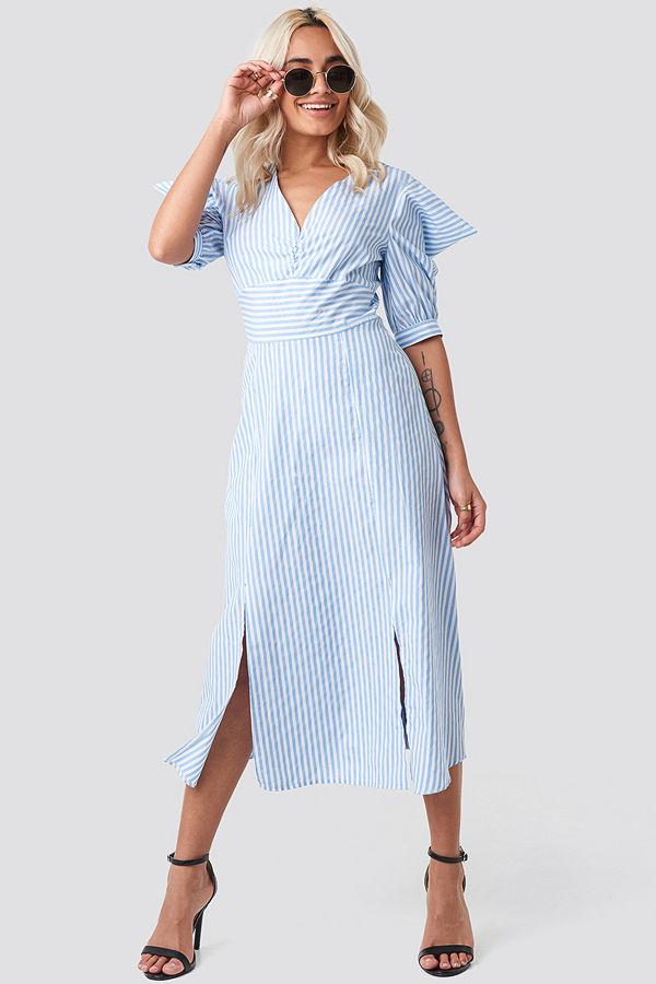 Trendyol Shoulder Detail Striped Midi Dress blå