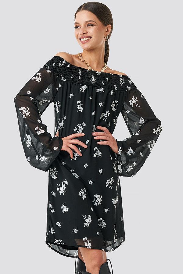 NA-KD Trend Floral Printed Off shoulder Dress svart