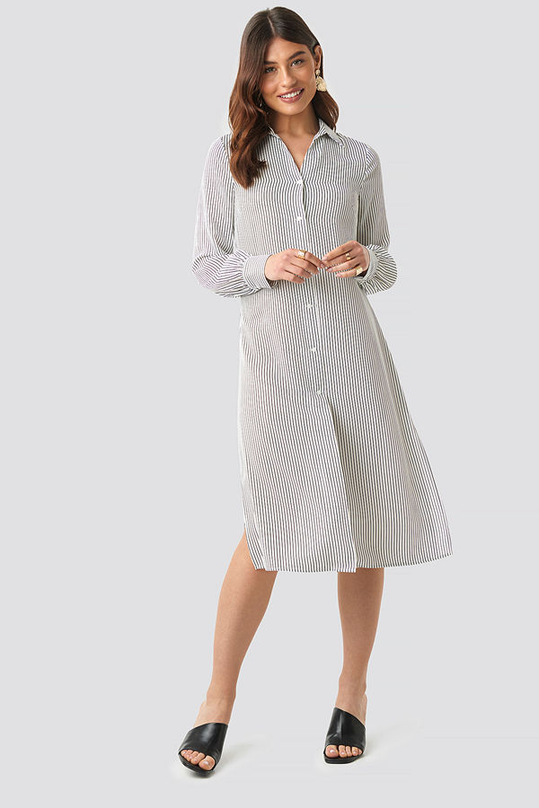 NA-KD Classic Midi Striped Shirt Dress vit