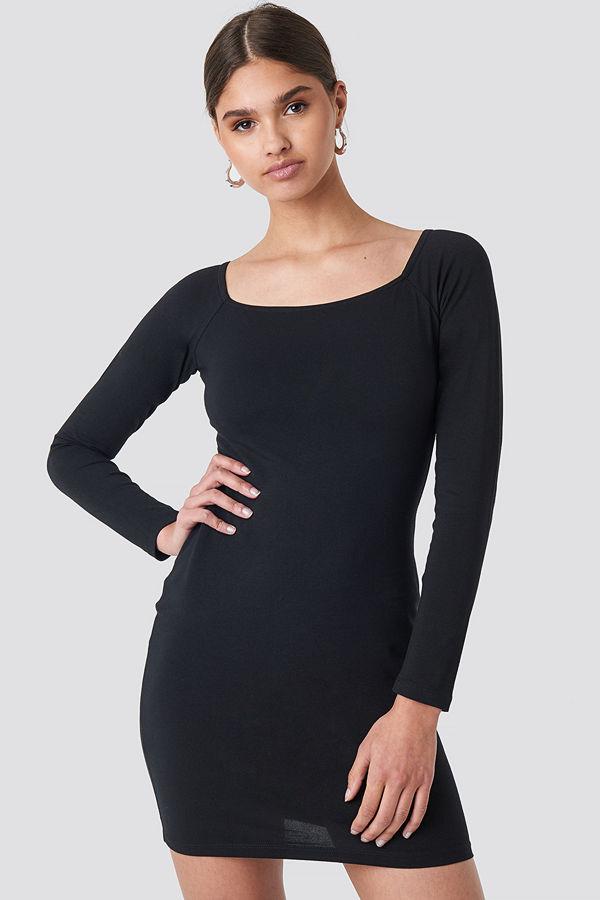 NA-KD Square Neckline Fitted Dress svart