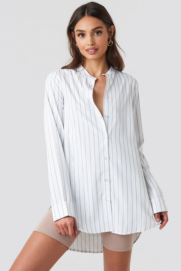 NA-KD Classic Banded Collar Striped Long Shirt vit