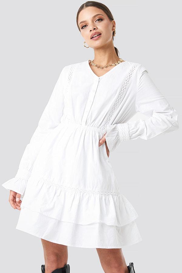 NA-KD Trend Lace Hem Detailed Dress vit