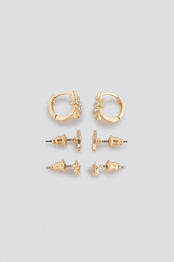 NA-KD Accessories smycke Star And Moon Stud Set guld