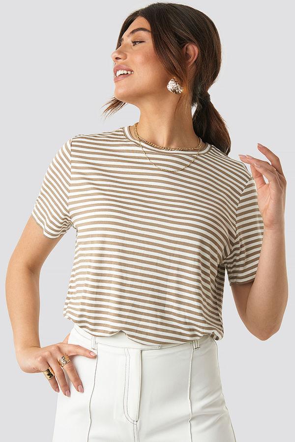 NA-KD Trend Striped Viscose Tee beige