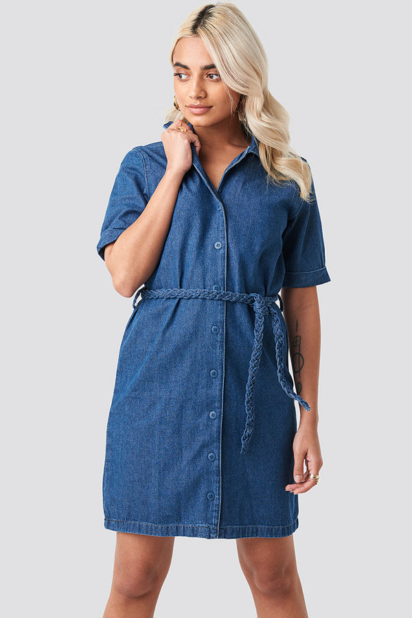 Trendyol Button Detailed Denim Mini Dress blå