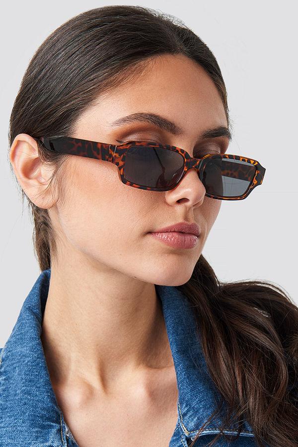 NA-KD Accessories Wide Rectangular Sunglasses brun