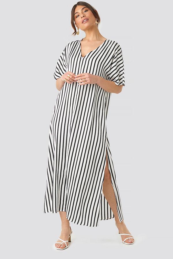 NA-KD Trend Striped V Neck Side Slit Dress vit