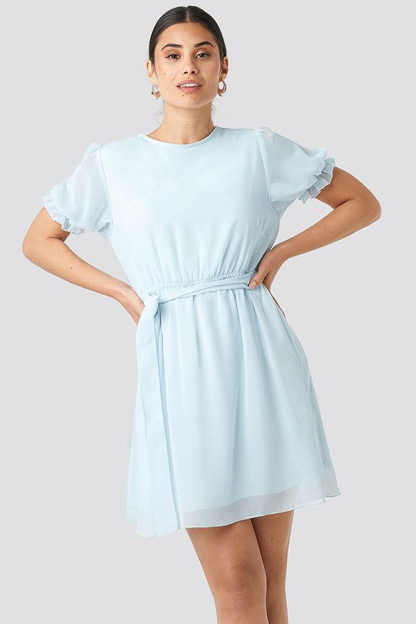 NA-KD Short Sleeve Chiffon Dress blå