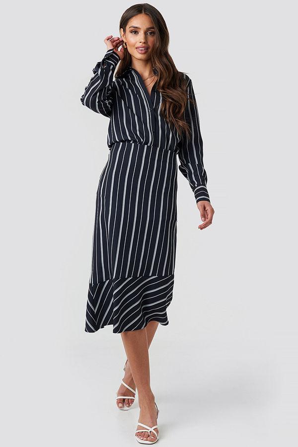 NA-KD Classic Asymmetric Striped Skirt blå