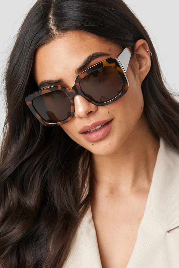 NA-KD Accessories Big Squared Sunglasses brun