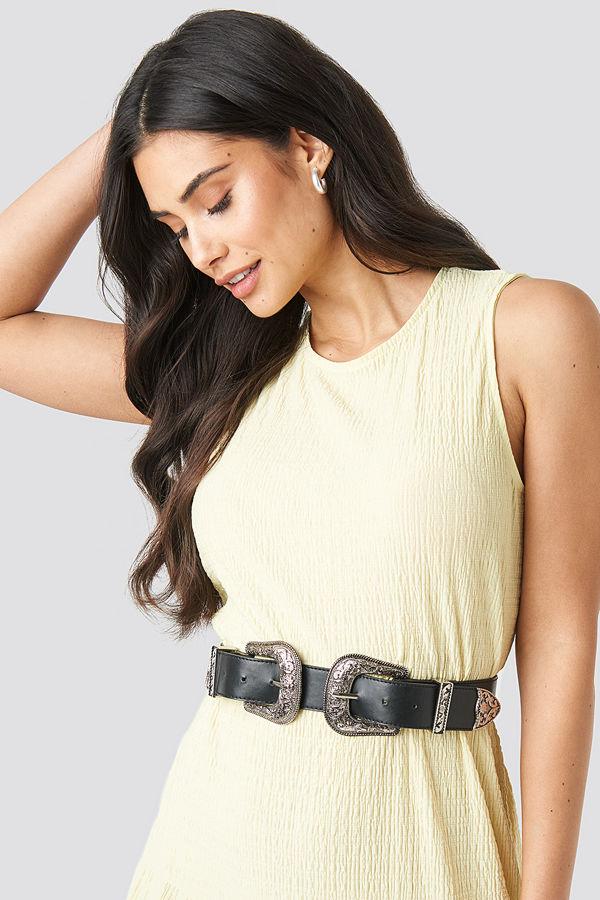 NA-KD Accessories Double Buckle Belt svart