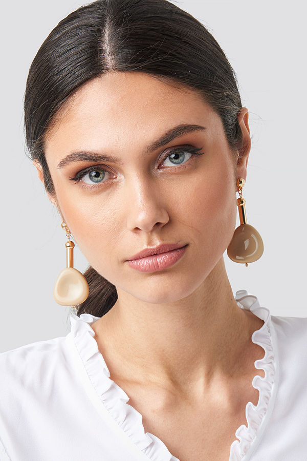 NA-KD Accessories smycke Nude Stone Drop Earrings nude