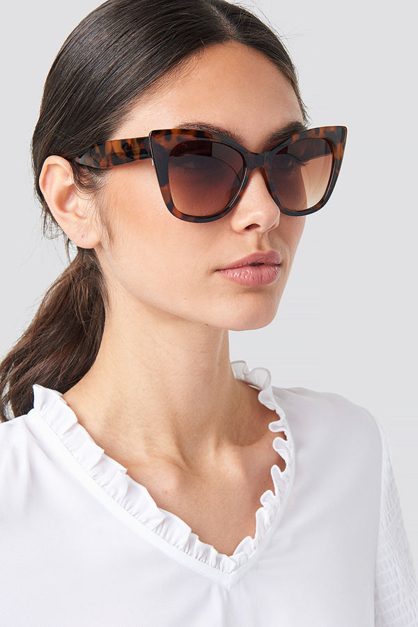 NA-KD Accessories Top Edge Cateye Sunglasses brun