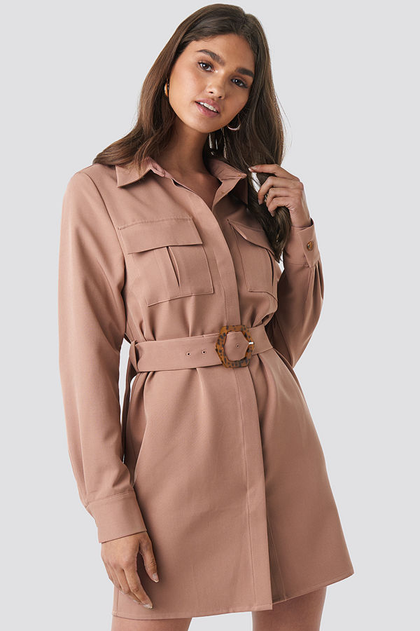 NA-KD Classic Belted Straight Fit Shirt Dress rosa