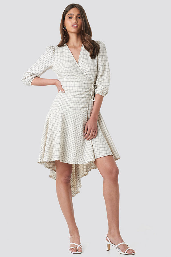 NA-KD Trend Linen Look Wrap Over Checked Dress beige