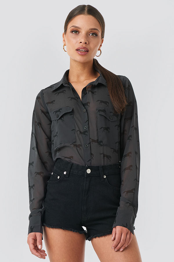 NA-KD Trend Giddy Up Printed Shirt svart