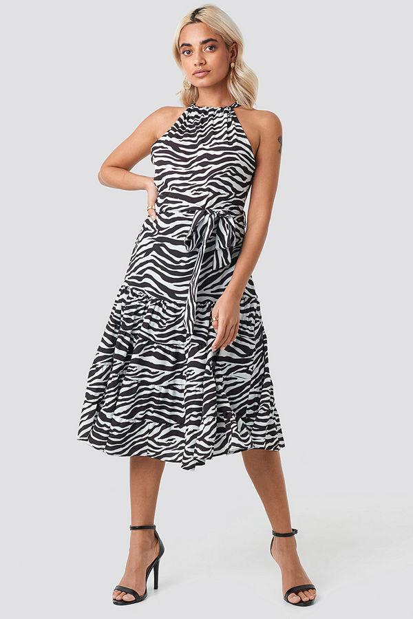 Trendyol Animal Print Midi Dress svart vit