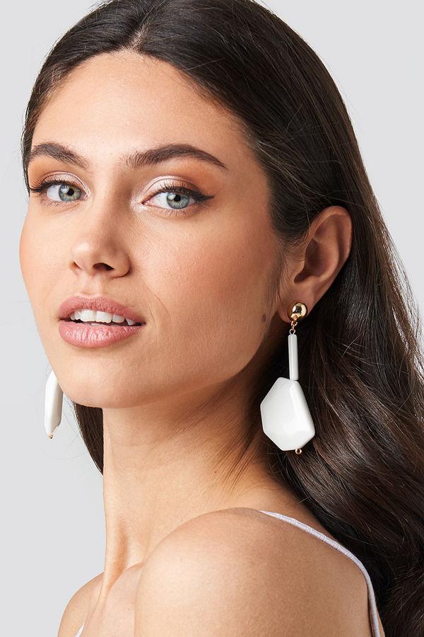 NA-KD Accessories smycke White Stone Drop Earrings vit