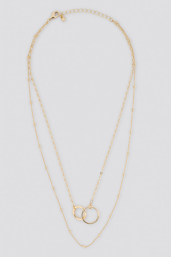 NA-KD Accessories smycke Connected Ring Layered Necklace guld